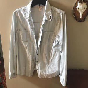 Mossimo Light Denim Shirt with Grommet Details XL